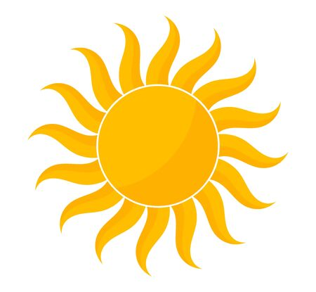 Icône de forme de soleil jaune. Illustration vectorielle. Vecteurs
