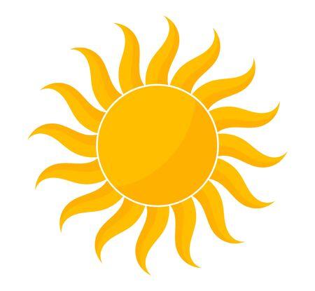 Icona di forma del sole giallo. Illustrazione vettoriale. Vettoriali