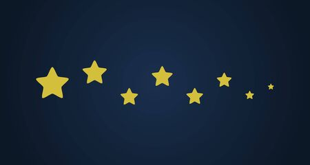 Gold stars on dark blue background. Vector illustration.