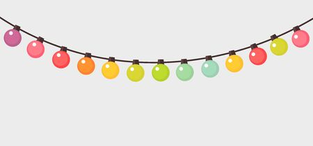 Colorful Christmas lights string background. Vector illustration. Ilustracja