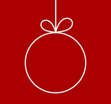 Christmas ball ornament line shape on red background. Vector illustration.