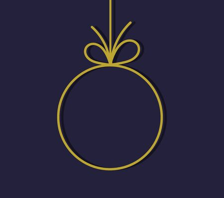 Christmas ball gold hanging ornament, line shape. Vector illustration.