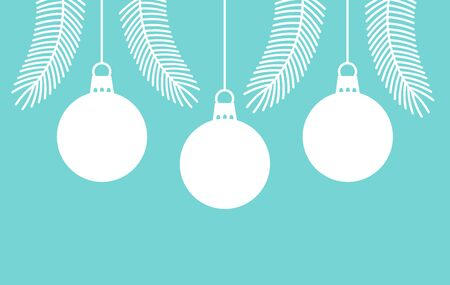 Christmas white balls ornaments on blue background. Vector illustration. Ilustracja