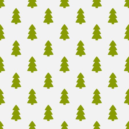 Christmas trees green flat design seamless pattern. Vector illustration. Ilustracja