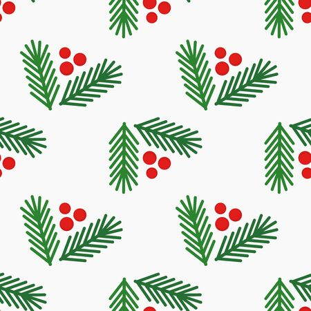 Christmas tree fir branches and berries simple seamless pattern on white background. Vector illustration.