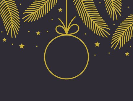 Christmas gold bauble decoration card. Vector illustration.