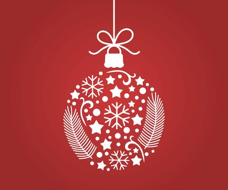 Christmas ornament ball decoration on red background. Vector illustration.