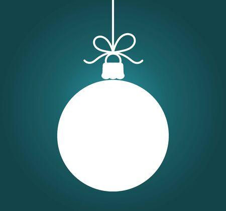 Christmas bauble hanging ornament on dark blue background. Vector illustration.