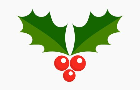 Icône de baies de houx de plante de Noël. Illustration vectorielle.
