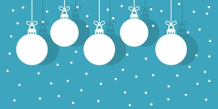 Christmas baubles hanging white ornaments on blue snowing winter background. Vector illustration.