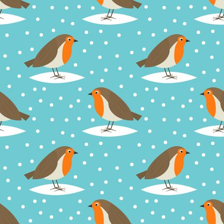 Robin birds cute winter Christmas seamless pattern. Vector illustration. Standard-Bild - 134744977