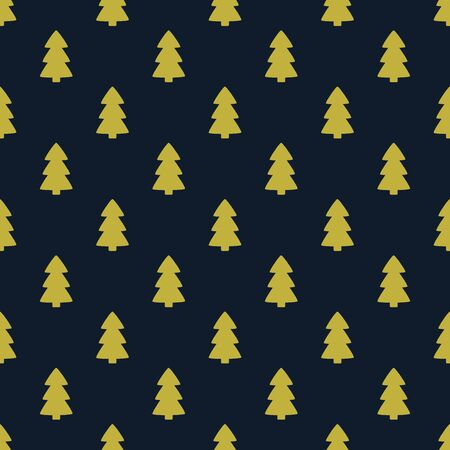 Gold Christmas trees on dark blue background seamless pattern. Vector illustration.