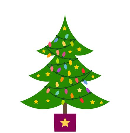 Christmas tree with lights and ornaments. Vector illustration.