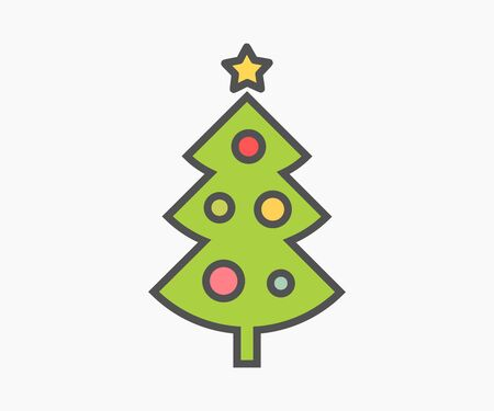 Christmas tree cute flat design icon. Vector illustration.