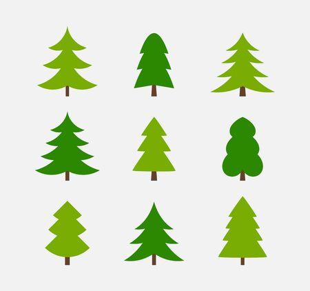 Christmas trees simple icons collection. Vector illustration. Flat design.