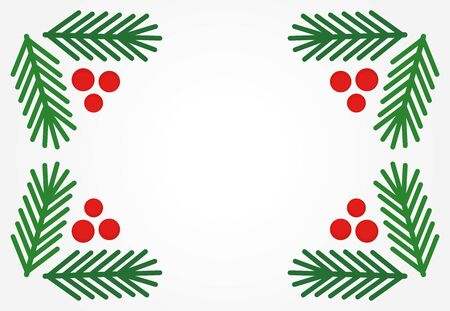 Christmas fir tree branches and red berries border. Vector illustration. Ilustracja
