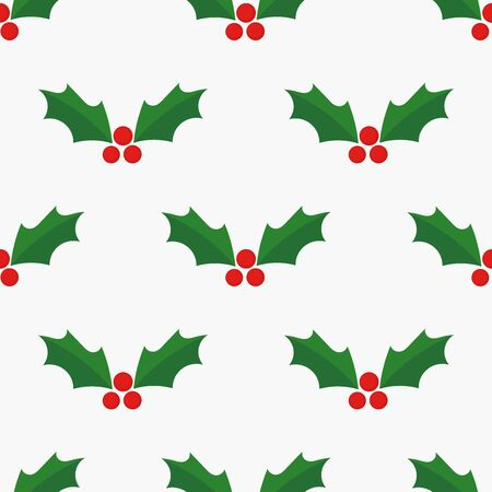 Holly berries Christmas seamless pattern. Vector illustration.