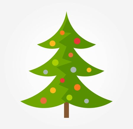 Decorated Christmas tree icon. Vector illustration.