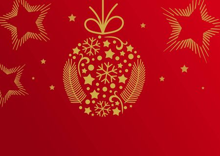 Christmas ball ornament, red and golden card background. Vector illustration. Illustration