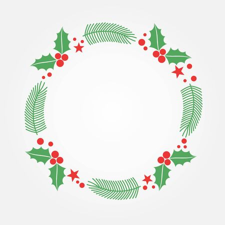 Christmas holly and fir wreath greeting card background. Vector illustration.