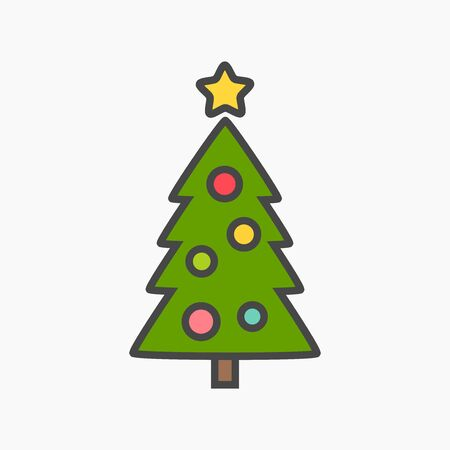 Christmas tree flat design icon. Vector illustration. Ilustracja