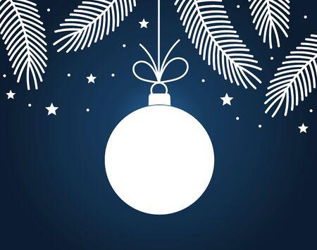 Christmas ball decoration card. Vector illustration.