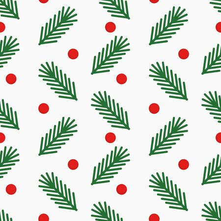 Christmas tree fir branches and berries simple seamless pattern on white background. Vector illustration. Ilustracja