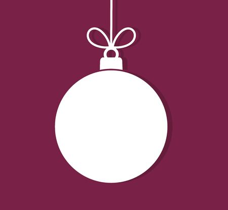 Christmas ball hanging ornament on purple background. Vector illustration.
