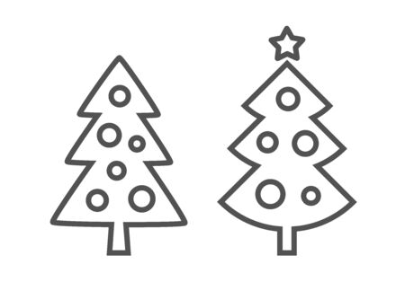 Christmas trees outline shapes on white background. Vector illustration.