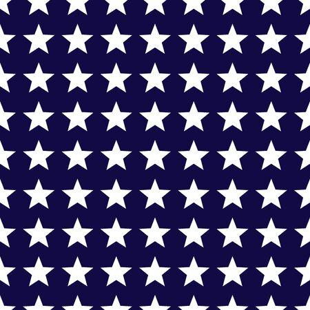 White stars on dark blue background seamless pattern. Vector illustration.