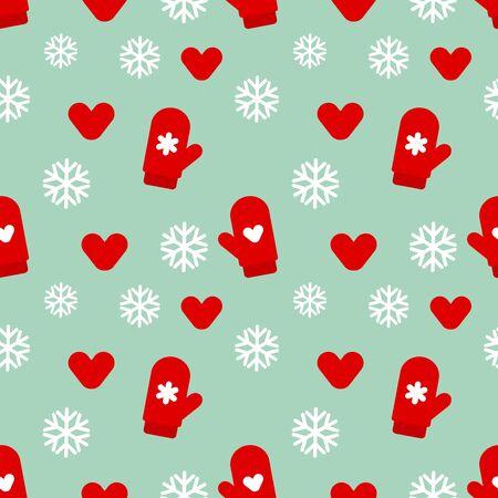 Winter mittens Christmas holiday seamless pattern. Vector illustration.