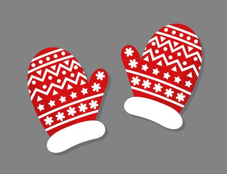 Christmas red and white mittens gloves. Vector illustration.