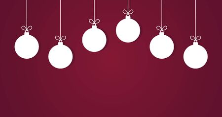 Christmas baubles hanging white ornaments on purple background. Vector illustration.