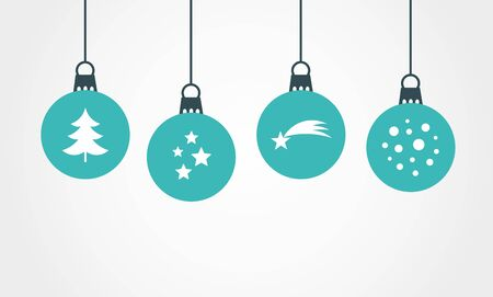 Christmas blue balls hanging ornaments. Vector illustration.