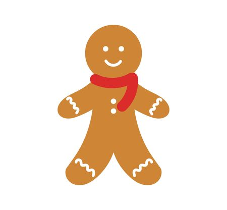Cute gingerbread man in scarf icon. Vector illustration.