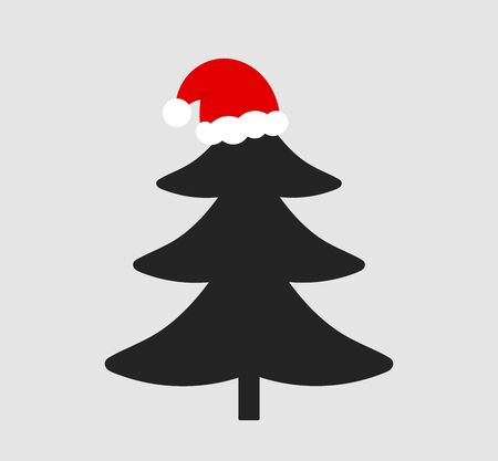 Christmas tree with Santa Claus hat icon. Vector illustration.