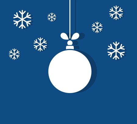 Christmas ball ornament and snowflakes on blue background. Vector illustration. Ilustracja