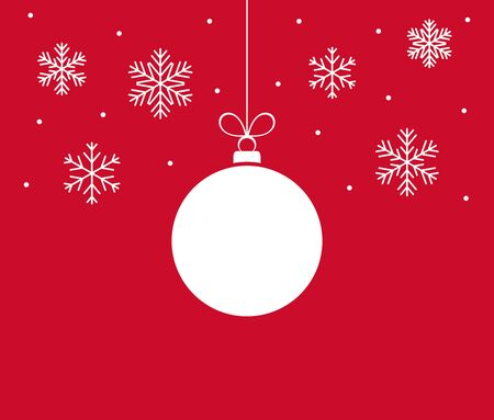 Christmas ball ornament and snowflakes on red background. Vector illustration.