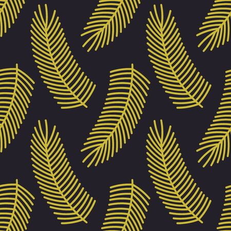 Christmas gold fir branches seamless pattern. Vector illustration.