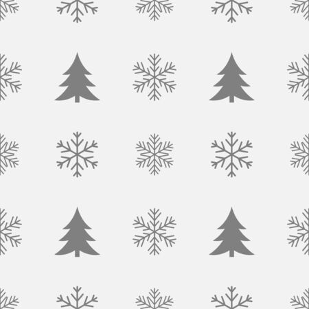 Snowflakes and Christmas trees winter pattern. Vector illustration.
