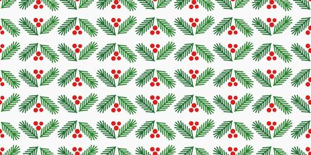 Christmas tree branches and red berries seamless pattern. Vector illustration.