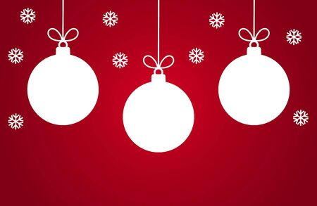 Christmas baubles ornaments and snowflakes on red background. Vector illustration. 矢量图像