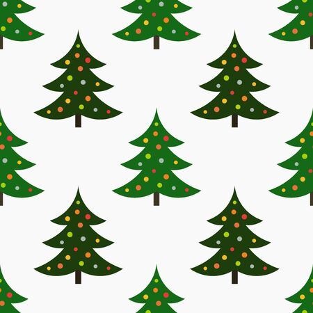 Decorated Christmas trees seamless pattern. Vector illustration.