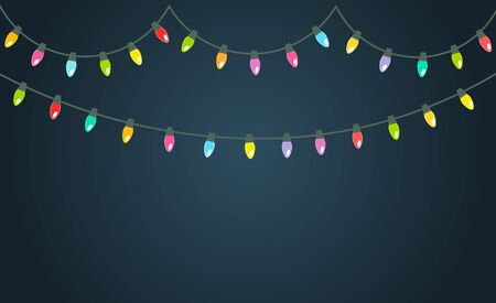 Christmas colorful lights shining on the dark background. Vector illustration