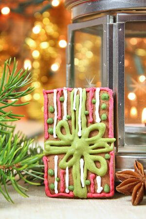 Christmas decorated gingerbread cookie present holiday background.