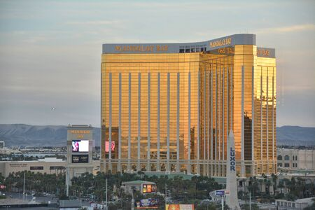 LAS VEGAS, USA - MARCH 20, 2018 : Mandalay Bay Hotel & Casino on Las Vegas boulevard in sunset light. Mandalay Bay is operated by MGM Resorts International.