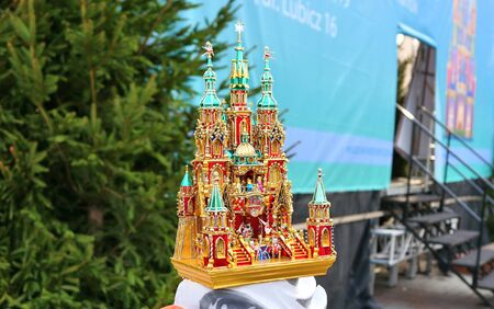 Krakow, Poland - December 6, 2018: Nativity scene contest exhibition on market square. Nativity scene szopka creating is a long regional artistic tradition in Krakow during Christmas time.