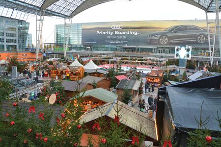 Munich, Germany - November 23, 2017: Outdoor Christmas market stalls at Munich International Airport in Germany, Europe.