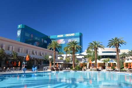 LAS VEGAS, USA - MARCH 18, 2018 :  Outdoor swimming pool at MGM Grand hotel in Las Vegas. Editorial