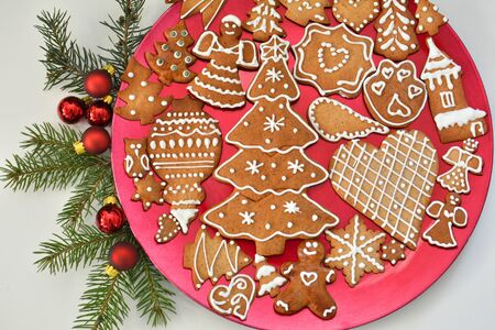 Gingerbread cookies on the plate. Christmas holiday dessert.